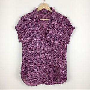 Pleione Blue & Pink Blouse Top Shirt Size S